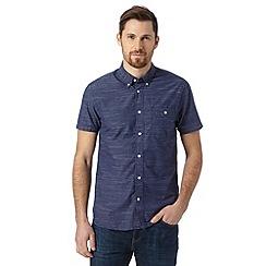 J by Jasper Conran - Big and tall designer dark blue short sleeved striped shirt