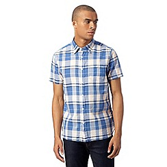 J by Jasper Conran - Big and tall designer blue checked short sleeved shirt