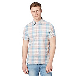 J by Jasper Conran - Big and tall designer peach checked short sleeved shirt