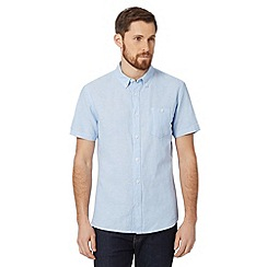 J by Jasper Conran - Big and tall designer light blue plain dye linen blend shirt