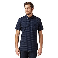 J by Jasper Conran - Designer navy short sleeved mini square print shirt