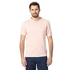 J by Jasper Conran - Big and tall designer pale pink button neck t-shirt