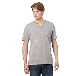 J by Jasper Conran - Big and tall designer light grey slub short sleeved grindle top
