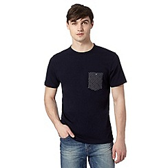 J by Jasper Conran - Big and tall designer navy contrast pocket t-shirt