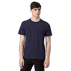 J by Jasper Conran - Designer navy leaf and semi-circle print t-shirt