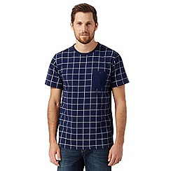 J by Jasper Conran - Designer navy windowpane check t-shirt