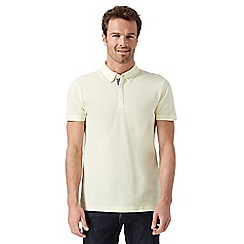 J by Jasper Conran - Big and tall designer light yellow plain mercerised polo shirt