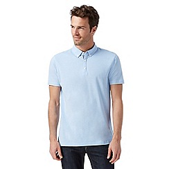 J by Jasper Conran - Big and tall designer light blue plain mercerised polo shirt