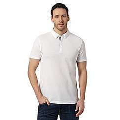 J by Jasper Conran - Big and tall designer white plain mercerised polo top