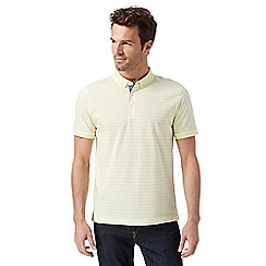 J by Jasper Conran - Big and tall designer light yellow striped mercerised polo shirt