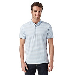J by Jasper Conran - Big and tall designer light blue striped mercerised polo shirt