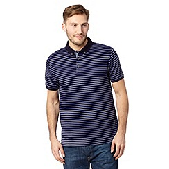 J by Jasper Conran - Big and tall designer mid blue striped mercerised cotton polo shirt