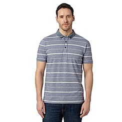 J by Jasper Conran - Big and tall designer navy striped chambray polo top