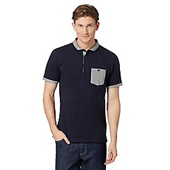 J by Jasper Conran - Big and tall designer navy checked collar polo shirt
