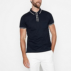 J by Jasper Conran - Big and tall designer navy contrast pocket polo shirt