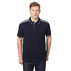 J by Jasper Conran - Designer navy jacquard yoke polo shirt
