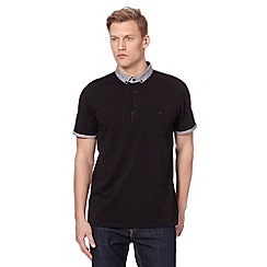 J by Jasper Conran - Big and tall designer black contrast collar polo shirt