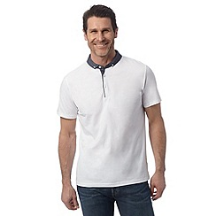 J by Jasper Conran - Designer white chambray collar polo shirt