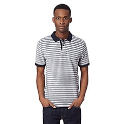 J by Jasper Conran - Designer navy striped textured polo shirt