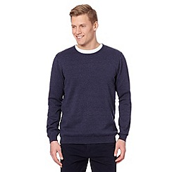 J by Jasper Conran - Big and tall designer dark blue crew neck jumper