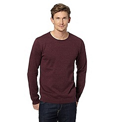 J by Jasper Conran - Big and tall designer grape crew neck knitted jumper