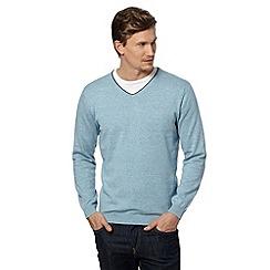 J by Jasper Conran - Big and tall designer light blue tipped v neck jumper