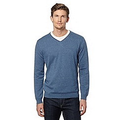 J by Jasper Conran - Big and tall designer mid blue tipped v neck jumper