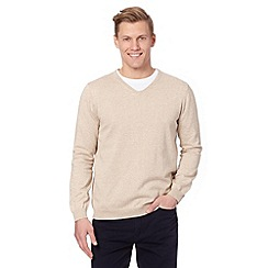J by Jasper Conran - Big and tall designer dark cream V neck jumper