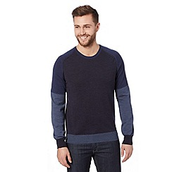 J by Jasper Conran - Designer mid blue merino wool colour block jumper