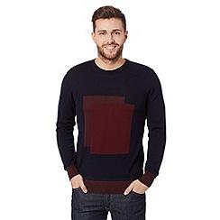 J by Jasper Conran - Designer navy merino wool square jumper