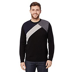 J by Jasper Conran - Big and tall designer black merino wool diagonal jumper