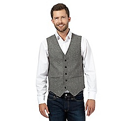 J by Jasper Conran - Big and tall grey wide herringbone wool blend waistcoat