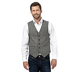 J by Jasper Conran - Grey wide herringbone wool blend waistcoat