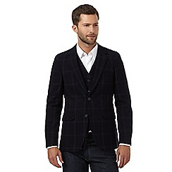 J by Jasper Conran - Big and tall navy wool blend checked blazer