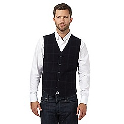 J by Jasper Conran - Big and tall navy wool blend checked waistcoat