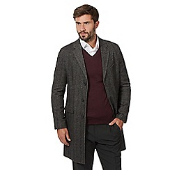 J by Jasper Conran - Big and tall dark grey herringbone epsom jacket