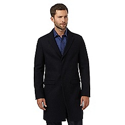 J by Jasper Conran - Black herringbone mid coat