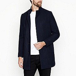 J by Jasper Conran - Big and tall navy wool blend coat