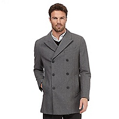 J by Jasper Conran - Big and tall grey herringbone wool blend coat