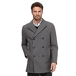 J by Jasper Conran - Grey herringbone wool blend coat