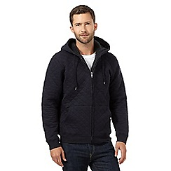J by Jasper Conran - Navy quilted ribbed hoodie