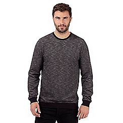 J by Jasper Conran - Big and tall designer black textured crew neck jumper