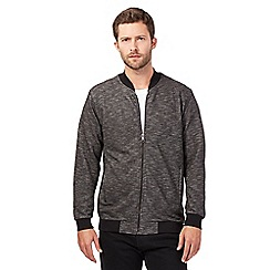J by Jasper Conran - Black textured baseball sweatshirt