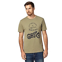 J by Jasper Conran - Designer khaki motorcycle graphic t-shirt