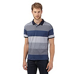 J by Jasper Conran - Big and tall designer navy block striped polo shirt