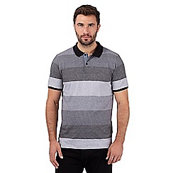 J by Jasper Conran - Big and tall designer black block striped polo shirt