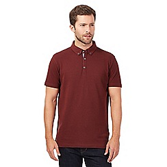 J by Jasper Conran - Big and tall dark red pique polo shirt