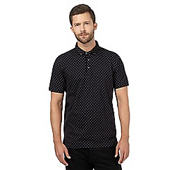 J by Jasper Conran - Big and tall black polka dot polo shirt