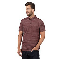 J by Jasper Conran - Dark red faded stripe polo shirt