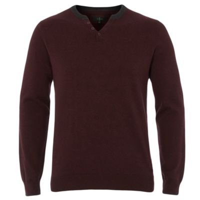 Wine Notch Neck Knitted Jumper